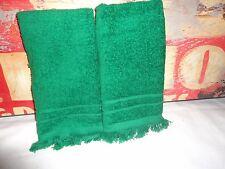 VINTAGE CANNON EMERALD GREEN (2PC) FINGERTIP TOWELS 10 X 15 100% COTTON