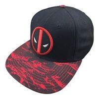 Marvel Deadpool Mens Adjustable Snap Back Hat Black Red Splatter Cap