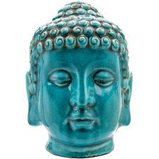 Thai Buda Cabeza Cerámica Efecto Antiguo De Cerámica Turquesa 25.5 por 18.5 Bo _ 25715 *