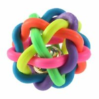 Dog Puppy Cat Pet Rainbow Colorful Rubber Bell Sound Ball Fun Playing Toy E9J2