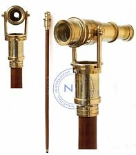 Maritime Nautical Walking Stick Vintage Telescope Handle Wooden Brown Cane Gift