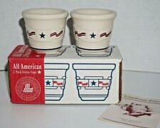 Nib Longaberger Pottery All American 2 Pack Votive Cups Candle Holders Patriotic