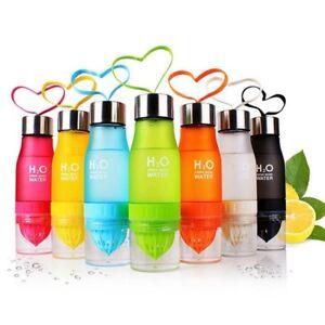 Water Bottle With Fruit Juice Infuser Add Lemon Portable Leak Proof Drink 650ML