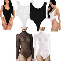 Women Lingerie Sheer Mesh Backless Bodysuit High Cut Leotard Thong Top Sleepwear