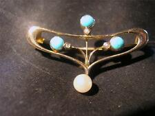 RARE Art Nouveau Libertys William Haseler 9ct Gold Turquoise & Pearl Drop Brooch