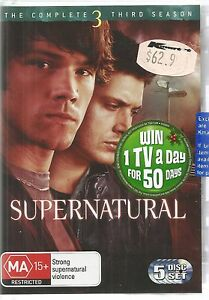 SUPERNATURAL  -  COMPLETE SEASON THREE.   /   5 DISC DVD BOXSET.  JENSEN ACKLES.