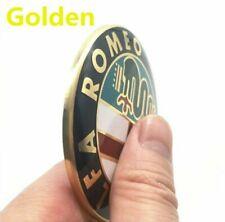 2 STEMMA ALFA ROMEO 74mm GOLDEN ANTERIORE-POSTERIORE 147 156 159 Brera Mito