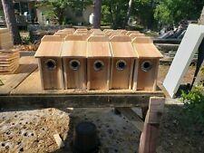 Lot of 2  BLUEBIRD CEDAR BIRD HOUSE NEW HANDMADE 5/8 CEDAR with squirrel guard