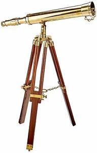 18 Inch Handmade Nautical Brass Telescope With Wooden Tripod Stand Desk Decor