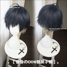 Game A3! Usui Masumi Costume Cosplay Wig + Cap Gradient Unisex Blue Short Hair