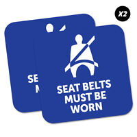 2 x Seat Belts Must Be Worn Blue Sticker Decal Safety Sign Car Vinyl #5451K