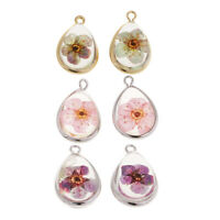 2pcs Clear Water Drop Glass Dried Flower DIY Necklace Dangle Pendants Charms