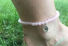 Fußkette Fußkettchen Fußschmuck Edelsteine handgefertigt Rosenquartz
