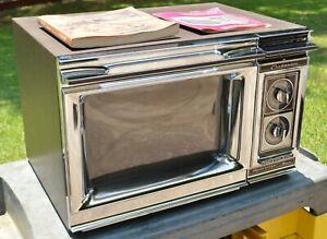 Vintage 1980 Amana Radarange Microwave Oven w/ Books Chrome Front TESTED