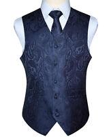 Men's Paisley Plaid Floral Jacquard Waistcoat Vest Pocket Square Tie Suit Set