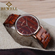 Bewell Couples Wrist Watch Quartz Analog Ladies Wooden Watches for Men/Women