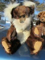 "VINTAGE TEDDY BEAR 17"" REAL FUR MINK WHITE FOX STOLE OOAK ARTIST SHARON DREYER"