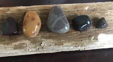 5 Stunning Beach Stones Pendants Lake Michigan Jewelry Crafts Beads #379