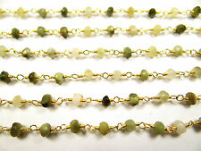 3.75 MM NATURAL CATS EYE FACETED GOLD PLATED HAND MADE GEM STONE LINK CHAIN 40