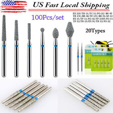 100 pcs/set Dental Diamond Burs For High Speed Handpiece Medium FG 1.6mm -US