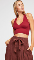 NEW Free People Intimately Seamless Good Time Halter Brami Red Sz XS/S-M/L $25