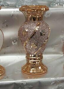 30 Cm Rose Gold Home Decor Ceramic Bling Sparkle Romany Mirrored Flower Vase