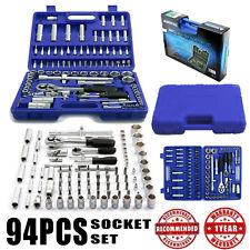 """94 PCS 1/2"""" 1/4"""" SOCKET SET Screwdriver Bit Ratchet Case Tool BOX Set Kit 94 PC"""
