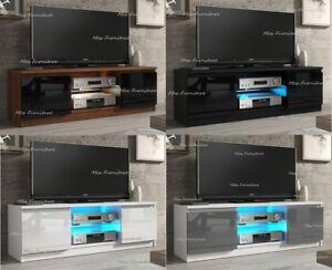 Modern TV Unit Cabinet TV Stand - Matt Body & High Gloss Doors LED Light