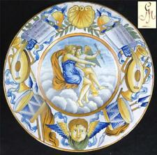 ANTIQUE LATE 19TH CENTURY ITALIAN NAPLES MAJOLICA FAIENCE NEO-CLASSICAL CHARGER
