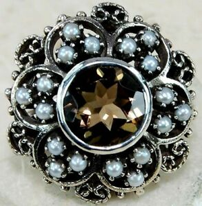 4CT Smoky Topaz & Pearl 925 Solid Sterling Silver Filigree Ring Sz 7 FO2