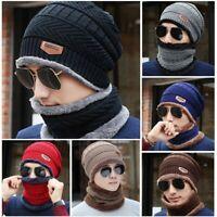 Herren Damen Beanie Hüte Warm Strickmütze Wintermütze Mütze und Loop Schal Set
