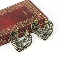 Lady Retro Heart Shaped Statement Drop Dangle Earrings Filigree Hollow Design