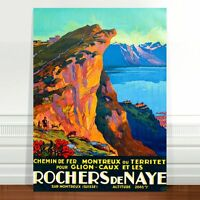 "Travel Poster Art ~ CANVAS PRINT 36x24"" ~ Cliff Rochers de Naye Switzerland"