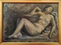 NU D'UNE FEMME. HUILE SUR TABLE. JAIME MARTRUS RIERA. 1952.
