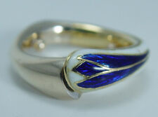 Unique 18K Yellow Gold White Blue Enamel Diamond Hinged Open Close Ring OOAK