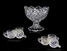 """WESTMORELAND EAPG THUMBELINA FLATTENED DIAMOND 7PC 4 1/4"""" CHILDS PUNCH SET 1890s"""