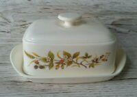 Butter Dish With Lid Floral Blackberry Fruit Print Vintage Retro
