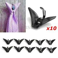 10Pcs Black Plastic Triangle Tie Clips On Necktie Accessories  2.2'' x  1