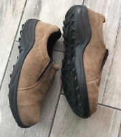 Brazos Work Force Womens Suede Steel Toe Brown Work Shoes Size 10B Very Nice!