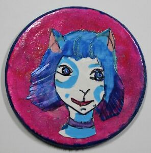 """New """"Azul""""small art piece by MsMeowtakittyclaws mixed media on recycled wood"""