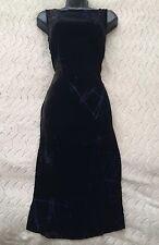 ARMANI EXCHANGE Designer Black Silk Velvet Dress Blue Detail Size 8 UK