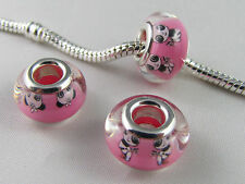 SILVER CORE MURANO RESIN CHARM BEADS FOR EUROPEAN STYLE CHARM BRACELETS #LG 002