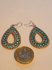 Silver Plated Turquoise Crystal Drop Earrings
