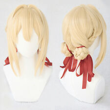 Violet Evergarden Short Blonde Braid Hair With Two Buns Cosplay Wig + Red Ribbon
