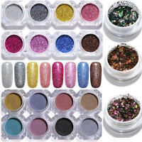 Holographics Nail Art Glitter Powder Flakes 3D Sticker  Tips Decoration