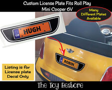 Custom Number License Plate Decals fits Rollplay Mini Cooper 6V Black UK