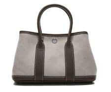 Women's Real Leather+ Canvas GARDEN PARTY TOTE Celebrity Shoulder Handbag Small
