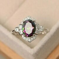 Gorgeous 925 Silver Jewelry Oval Cut Mystic Topaz Women Wedding Ring #6-10 Charm
