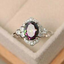 Gorgeous 925 Silver Jewelry Oval Cut Mystic Topaz Women Wedding Ring Size6-10 UK