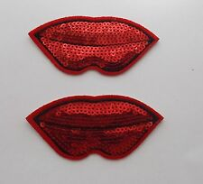 Red Lips Iron/Sew on Patches x 2